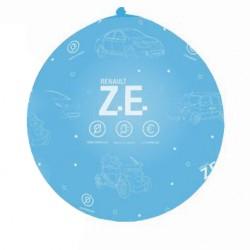 Ballons géants ZE bleus imprimé blanc