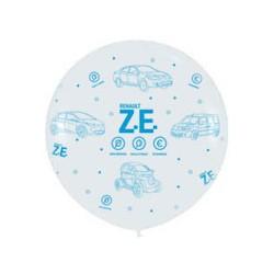Ballon géant ZE blancs imprimé bleu