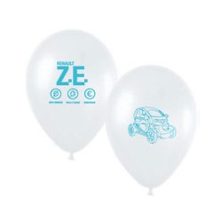 """Twizy"" white balloon with blue printing Ø 30cm"
