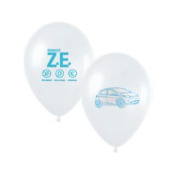 """Zoe"" white balloons with blue printing Ø 30cm"