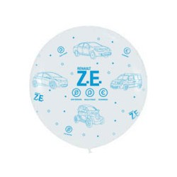 """Ze"" giant balloon white with blue print Ø 100cm"